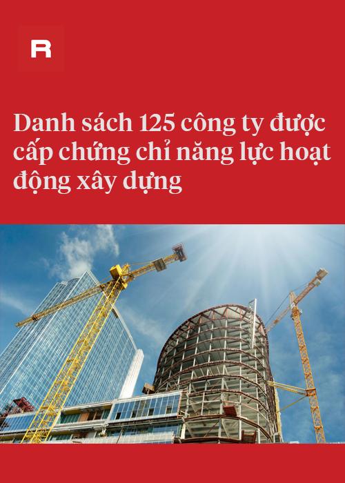 Danh sách 125 công ty được cấp chứng chỉ năng lực hoạt động xây dựng