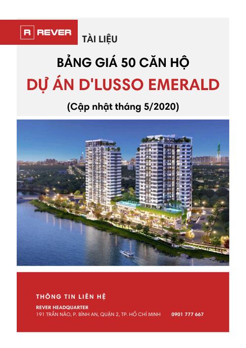 Bảng giá 50 căn hộ dự án D'LUSSO EMERALD (Cập nhật T5/2020)