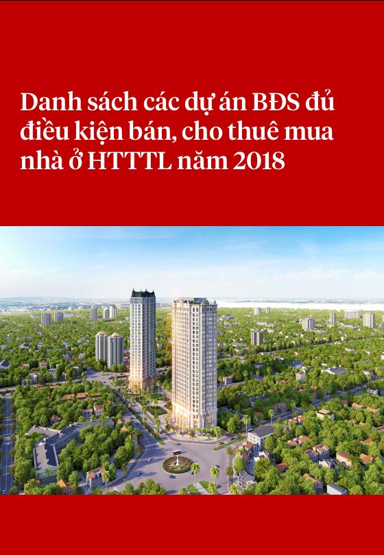Danh sách các dự án BĐS đủ điều kiện bán, cho thuê mua nhà ở HTTTL năm 2018