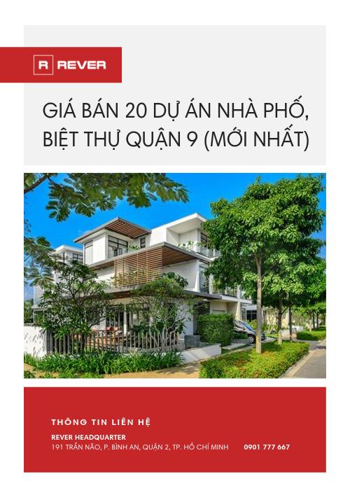 Giá bán 20 dự án nhà phố, biệt thự Quận 9 (Mới Nhất)